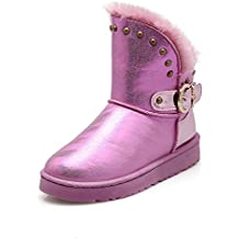 Baqijian Ankle Snow Boots Warm Plush Insole Platform Buckle Classic Recommended Style Casual Slip-On