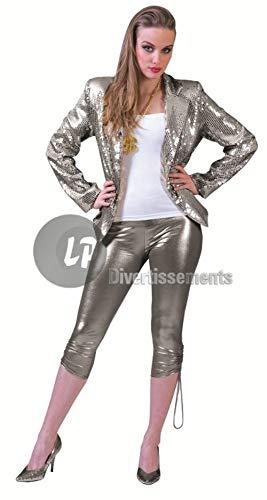 Chaqueta disco con lentejuelas plata mujer talla L - CALIDAD ...