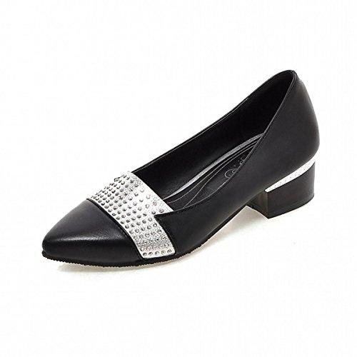 DIMAOL Chaussures Femmes de Confort Nouveauté Printemps Automne Similicuir Talon Talons Bout Pointu Pour les Tenues Beige Noir Blanc Rouge,Black,US8.5/EU39/UK6.5/CN40