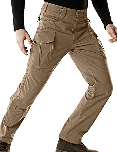 CQR Men's Flex Stretch Tactical Work Outdoor Operator Rip-Stop Trouser Pants EDC, Flexy Cargo Zip(tfp521) - Coyote, 34W/34L