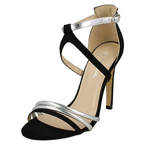 Ladies Anne Michelle High Heel Strappy Mule Sandals Black/Silver (Black)