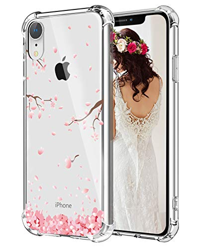 Hepix Floral iPhone XR Case Cherry Blossom Clear XR Cases, Soft Flexiable Protective Cover Cases TPU Frame Anti-Scratch Shock Absorbing Case with Reinforced Bumper for iPhone XR (2018) - Phone Blossom Cherry