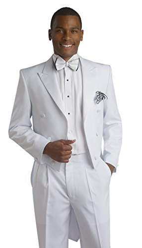 S&R Goods E.J. Men's White 2 Piece Tailcoat Tuxedo (40 (2 Piece Tail)