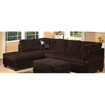 ACME 55975 Connell Sectional Sofa with Pillows Chocolate Corduroy and Espresso  sc 1 st  Amazon.com : chocolate corduroy sectional - Sectionals, Sofas & Couches
