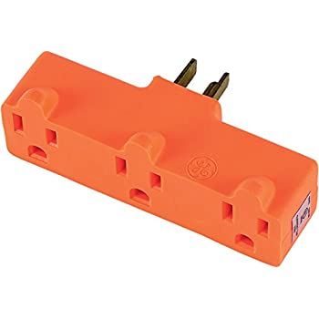 GE 54541 Heavy Duty 3-Grounded Outlet Adapter, Orange
