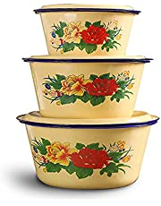 Retro Enamel Bowl ,Household Noodles Soup Bowl Food Fruit Container with Lid (pack 3 of sku2)