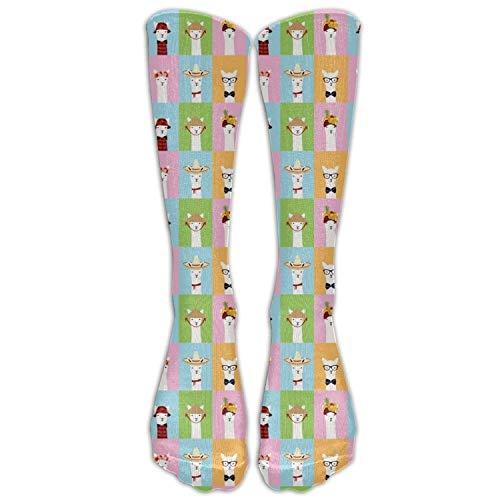 Colorful Llama Invasion Costume Cosply Socks Halloween Funny Champion Athletic Leggings Knee High Stockings