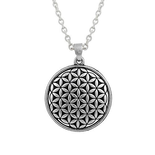 Flower of Life Wax Rope Necklace Ancient Egyptian Symbol Pendant Necklace for Men Punk Style (antique silver)