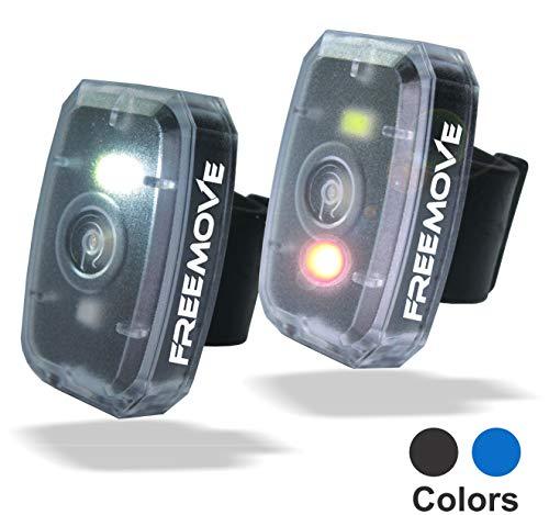 FREEMOVE 2-Black Led Safety Lights | HIGH Visibility Running Gear | 4 Modes Flashing Led Lights Red & White | USB Rechargeable Belt Clip Running Light | Pet Dog Collar Strobe | Bike Tail Warning Light