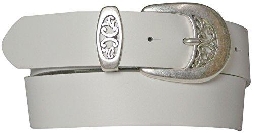 FRONHOFER Women's leather belt, floral antique silver buckle, black, white, red, Size:waist size 39.5 IN XL EU 100 cm, ()
