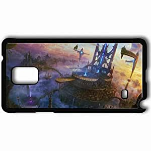 Personalized Samsung Note 4 Cell phone Case/Cover Skin Art City Rocks Flying Clouds Ship Black