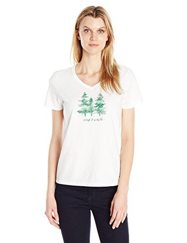 Life is good Women's Crusher Vee Keep It Simple Trees Tee, Cloud White, X-Large