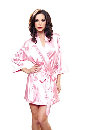 iCollection Women's Satin Robe, Pink, (Short Satin Robe)