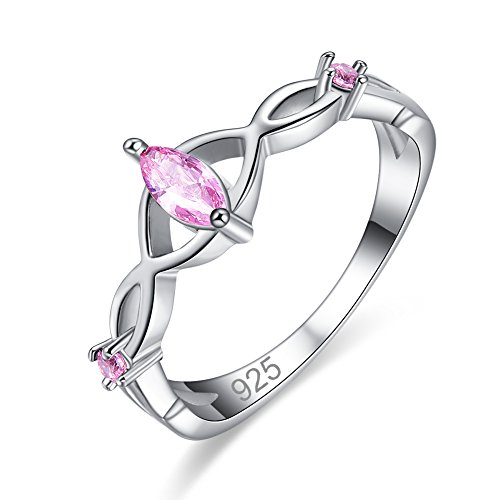 (Veunora Graduation Gift 925 Sterling Silver Created Pink Topaz Filled Twist Infinity Ring for Women Size 6)