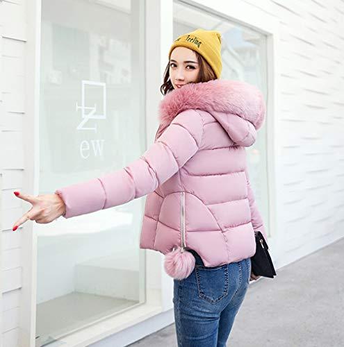 New TUDUZ Pink Quilted Fur Womens Puffer Coat Hooded Winter Outwear Collar Ladies Women Parka Jacket F1qHEwTxS