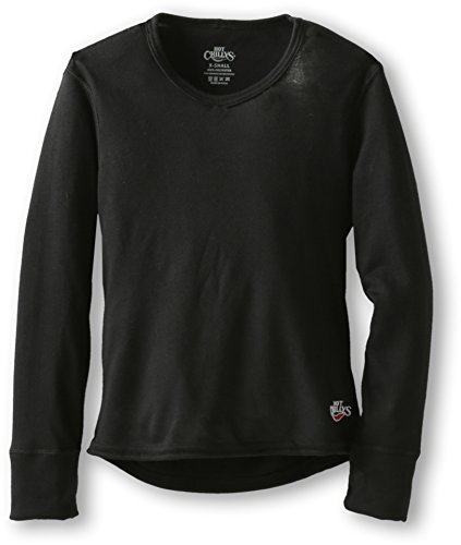 Hot Chillys Youth Midweight Banded Crew (Black, Small)
