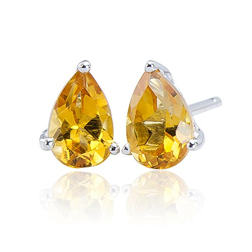 Flawless Natural Citrine Gemstone 925 Sterling Silver 925 Pear Stud Post Earrings