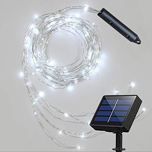 Soltuus Solar 120 LED String Fairy Lights, Starry Copper String Lighting, Waterproof Watering Can Light, Solar Powered Firefly Moon for Plants Tree Vines Decorations, Daylight White