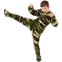 Big Feet Pjs Kids Green Camo Fleece Boys Footed Pajamas Onesie Sleeper