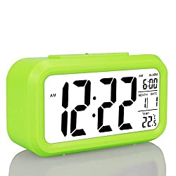 Children's Clocks,Travel Alarm Clock,Battery Operated Smart Backlight Kids' Morning Clock, Large LCD Display Slim LED Desk Clock (with Date,Temperature,Snooze), for Home Office Bedroom Travel (Green)