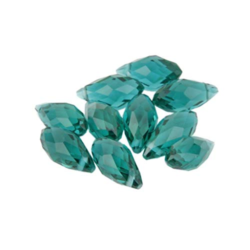 (10pcs 12x6mm Teardrop Glass Crystal Loose Spacer Beads Gemstone Jewelry Charms (Color - Peacock Green))