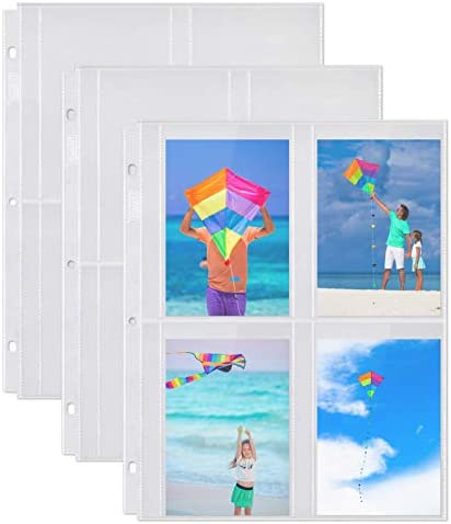 Dunwell 3-Ring Binder Sleeve Refills - (3.5x5, 10 Pack), for 80 Pictures, Crystal Clear Photo Pockets, Photo Album Page Refillable Inserts, Each Photo Page Holds 8 Pictures, Seed Binder