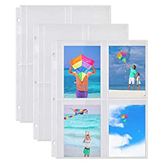 Dunwell Photo Album Refill Pages - (3.5x5, 25 Pack), for 200 Pictures, 3-Ring Binder Photo Pockets, Each 4-Pocket Photo Page Holds 8 Pictures, 3.5 x 5 Photo Protectors or 3.25x5.25 Seed Binder