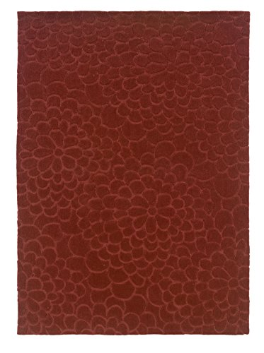 Linon Hand Tufted Trio Collection Floral Trace Rust Polyester Rug (5' X 7') ()