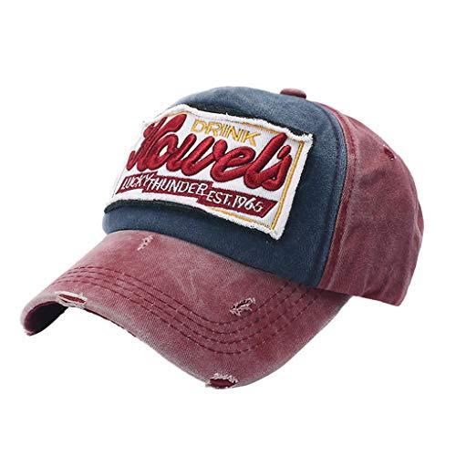 Duseedik Unisex Baseball Cap Outdoor Embroidered Dad Hat Cotton Adjustable Beach Sun Hat (Wine) ()