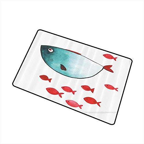 Mdxizc Welcome Door mat Ocean Animal Decor Cute Chubby Fish with Little Underwater Aquatic Life Kids Nursery Theme W35 xL47 Easy to Clean Carpet Blue Red