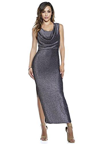 Naimo Women Luxurious Slit Evening Dress Gown Long Dress Sleeveless Halter (Silver)