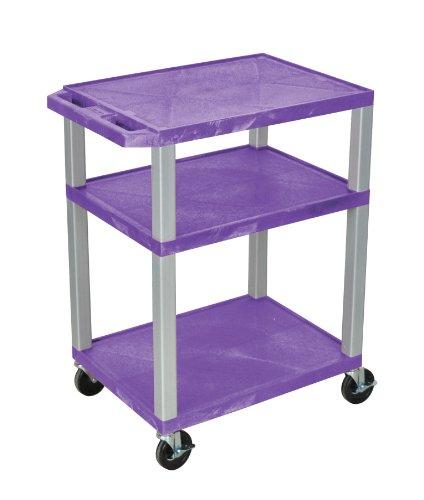 H WILSON WT34PE-N Tuffy Utility AV Cart with Nickel Legs, 3 Shelves, 34