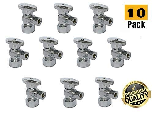 "1/2-in Nominal Comp (5/8"" OD Comp) x 3/8-in OD Comp 1/4-Turn Chrome Brass Angle Stop Valve Water Shut Off Ball Valve Lead Free (10-Packs) from EZ-Fluid"