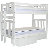 Bedz King Tall Bunk Beds Twin over Twin Mission Style with End Ladder and 2 Under Bed Drawers, White
