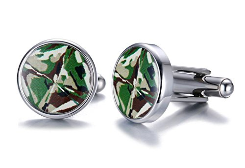 Stainless Steel Round Shaped Green Camouflage Camo Inlay Enamel Men's Cufflinks 14k Green Cufflinks