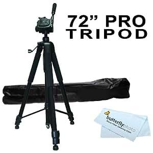 "Professional 72"" TRIPOD For Canon XF100, XF105, XF305, XF300, XL-H1s, XL-H1a, XH-G1s, XH-A1s, XL2, XL1 XA10 Professional Camcorders + BP MicroFiber Cleaning Cloth"