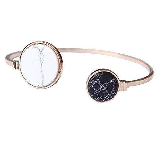 Bijoux LILICAT Bracelet douverture en turquoise asymétrique unique en géométrie ajustable Blanc Ronde