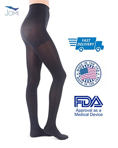 Jomi Compression Pantyhose Women Collection, 15-20mmHg Opaque Closed Toe 174 (Large, Black)