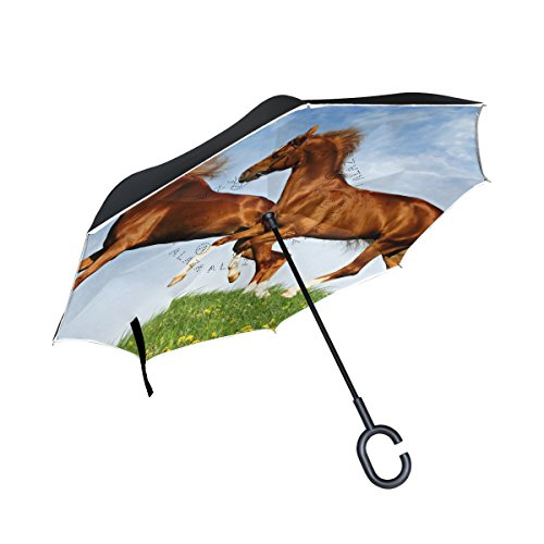 ALIREA Two Horses Frolic On The Plain Double Layer Inverted Umbrella Reverse Umbrella for Car and Outdoor Use Rain Windproof Waterproof UV Protection Big Straight Umbrella With C-Shaped (Frolic Horse)