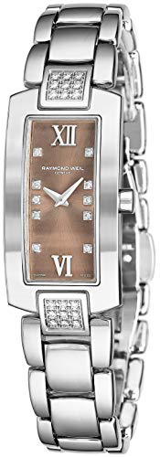- Raymond Weil Shine Womens Rectangular Diamond Watch - Swiss Made Brown Face with Sapphire Crystal - Stainless Steel Band with Additional Black Satin Leather Band Rectangle Quartz Watch 1500-ST3-00775