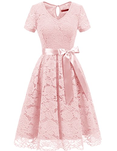 DRESSTELLS Women's Elegant Bridesmaid Dress Floral Lace Party Swing Dresses with Short Sleeves Blush L ()