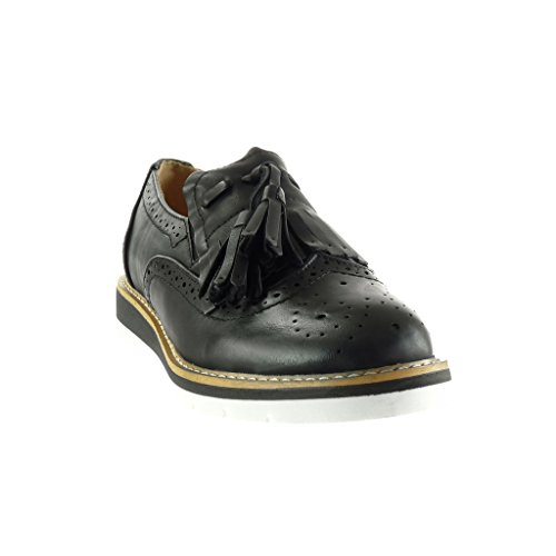 Angkorly - Zapatillas de Moda zapato derby Mocasines slip-on mujer fleco pompom perforado Talón Plataforma 3 CM - Negro