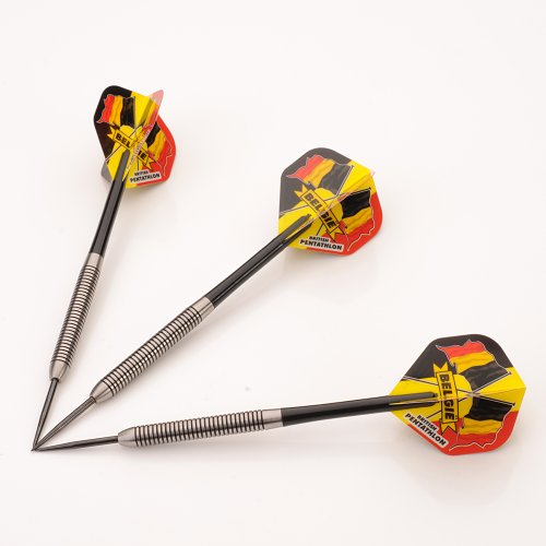 (Belgium 27g Tungsten Darts Set, Black Stems, Flights, Perfectdarts Case)