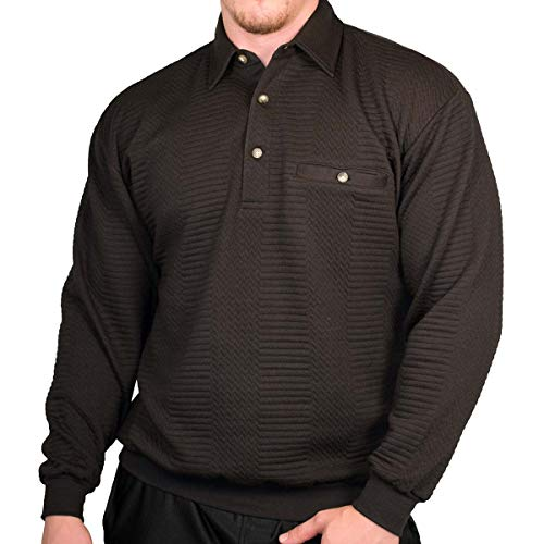 Palmland L/S Solid Textured Banded Bottom Shirt (XX-Large, Black)