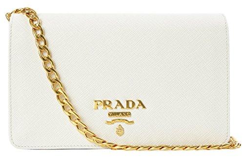 Wiberlux Prada Women's Gold Chain Strap Real Leather Mini Bag One Size White (Chain Bag Prada)