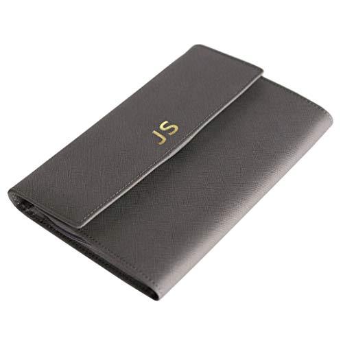 (Monogrammed Saffiano Leather Travel Jewelry Case Organizer Grey)