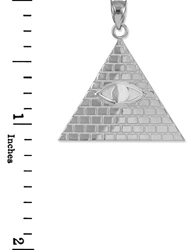 10 ct 471/1000 Or Blanc Pyramide Egyptienne Avec oeil d'Horus Pendentif