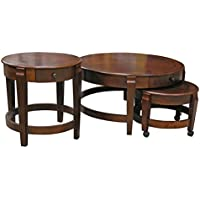 Nesting Coffee Table Set with Accent Table in Chestnut finish