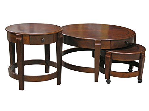 Classic Nesting Coffee Table Set with Accent Table in Chestnut finish by Fairview Game Rooms
