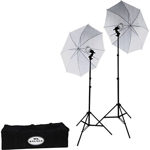 Two Light Kit - Savage LED60K 500 Watt LED Studio Light Kit with 2 Lights, 2 Stands, 2 Umbrellas & Case